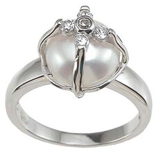.925 Sterling Silver Pearl Anniversary Ring