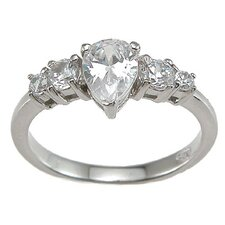 <strong>Plutus Partners</strong> .925 Sterling Silver Pear Engagement Ring