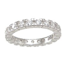 .925 Sterling Silver Princess Cut Cubic Zirconia Eternity Wedding Band