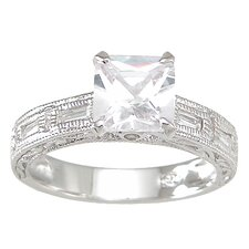 .925 Sterling Silver Princess Cut Cubic Zirconia Wedding Ring