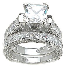 <strong>Plutus Partners</strong> .925 Sterling Silver Princess Cut Cubic Zirconia Engagement Ring Set