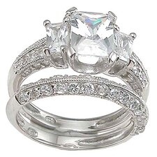 <strong>Plutus Partners</strong> .925 Sterling Silver Emerald Cut Cubic Zirconia Engagement Ring Set