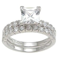 .925 Sterling Silver Princess Cut Cubic Zirconia Engagement Ring Set
