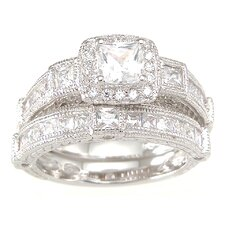 <strong>Plutus Partners</strong> .925 Sterling Silver Princess Cut Cubic Zirconia Wedding Ring Set