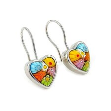 Millefiori Glass Heart Drop Earring