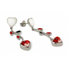 Millefiori Glass Heart Drop Earrings