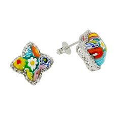 Millefiori Glass Star Stud Earrings