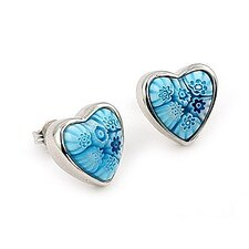 <strong>Plutus Partners</strong> Millefiori Glass Heart Stud Earrings