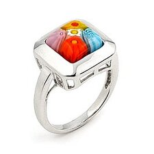 Millefiori Sterling Silver Square Glass Ring