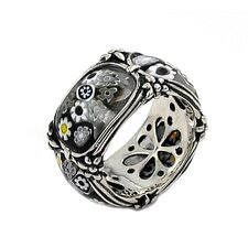 Millefiori Sterling Silver Segmented Blackend Flower Glass Band
