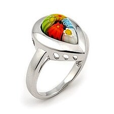 Millefiori Sterling Silver Drop Glass Ring