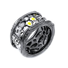 Millefiori Sterling Silver Segmented Glass Band