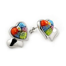 Millefiori Glass Double Heart Stud Earrings