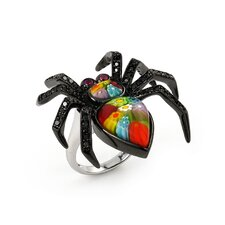 Millefiori Spider Glass / Cubic Zirconia Ring