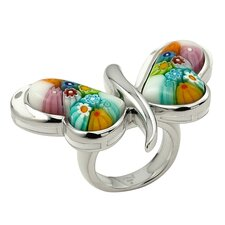 Millefiori Butterfly Wings Glass Ring