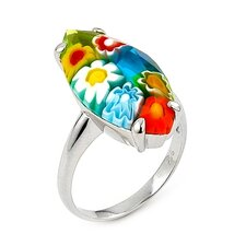 Millefiori Sterling Silver Faceted Marquise Glass Ring
