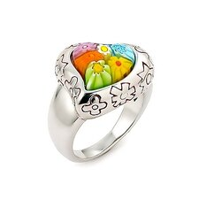 Millefiori Sterling Silver Curved Heart Glass Ring
