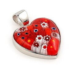 Sterling Silver Millefiori Glass Heart Pendant