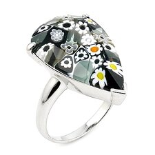 Millefiori Sterling Silver Faceted Drop Shape Glass Ring