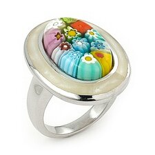 Millacreli Sterling Silver Oval Glass Ring