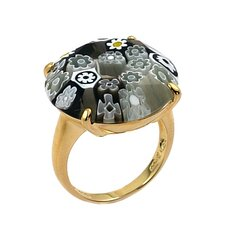 Millefiori Sterling Silver Round Faceted Glass Ring
