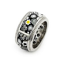 <strong>Plutus Partners</strong> Millefiori Sterling Silver Segmented Band Glass Ring