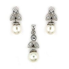 Synthetic Cultured Pearl and Cubic Zirconia Leaf Earrings and Pendant Set