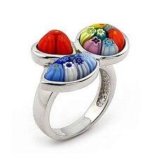 Millefiori Sterling Silver Multi Shape Glass Ring