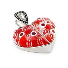 <strong>Plutus Partners</strong> Sterling Silver Millefiori Glass Split Heart Pendant
