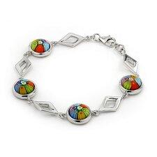 Millefiori Cut Out Diamond Link Bracelet