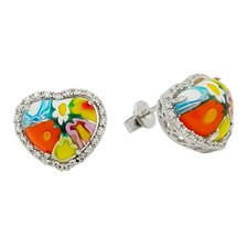 Millefiori Glass Heart Stud Earrings