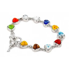Millefiori Heart Glass Link Bracelet