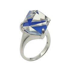 Demiquartz Semi-Precious Sterling Silver Lapis Doublet Cube Ring