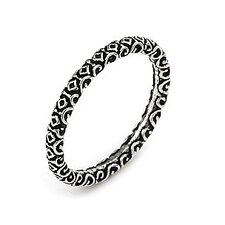 Sterling Silver Plain Decorated Stackable Ring