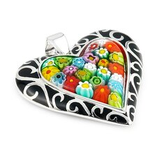 Sterling Silver Millacreli Glass Heart Pendant