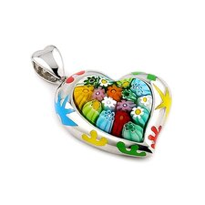 Sterling Silver Millefiori Glass Curved Heart Pendant