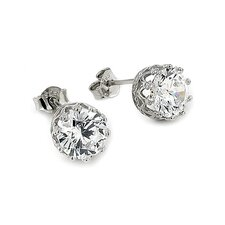 Crown Cubic Zirconia Stud Earrings