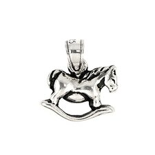 Plain Sterling Silver Rocking Horse Charm