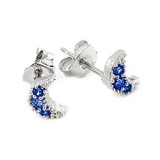 Moon Pave Cubic Zirconia Stud Earrings