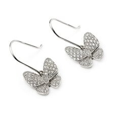 Butterfly Micro Pave Cubic Zirconia Drop Earrings