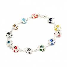 Elephant Glass Eye Link Bracelet