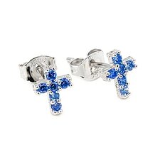 <strong>Plutus Partners</strong> Cross Pave Cubic Zirconia Stud Earrings