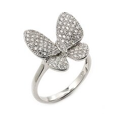 Sterling Silver Micro Pave Cubic Zirconia Butterfly Ring