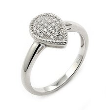 <strong>Plutus Partners</strong> Sterling Silver Micro Pave Cubic Zirconia Drop Ring