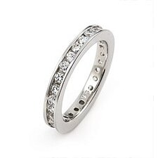 Wedding Sterling Silver Cubic Zirconia Eternity Band