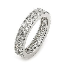 Wedding Sterling Silver Round Cubic Zirconia Band