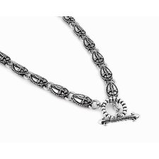 Twisted Blade Silver Oval Dagger Link Necklace
