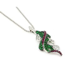 Ferroni Sterling Silver Swarovski Elements Zirconia Leaf Necklace