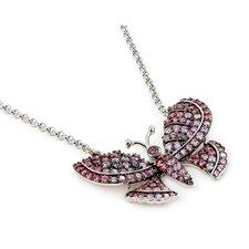 Ferroni Sterling Silver Swarovski Elements Zirconia Butterfly Necklace