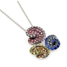 Ferroni Sterling Silver Swarovski Elements Zirconia Triple Swirl Necklace